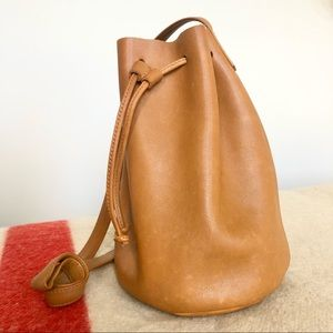 Baggu brown leather bucket bag